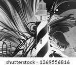 abstract black and white waves  ... | Shutterstock . vector #1269556816