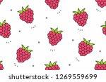 raspberries seamless pattern.... | Shutterstock . vector #1269559699