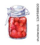 strawberry jam with berries in... | Shutterstock . vector #1269588820