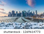 view of manhattan at sunset... | Shutterstock . vector #1269614773