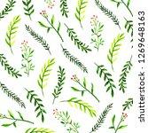 christmas watercolor background | Shutterstock . vector #1269648163