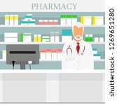 old man senior pharmacist in... | Shutterstock .eps vector #1269651280