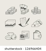 money and jewellery set of icon.... | Shutterstock .eps vector #126966404