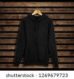 black sweatshirt hoodie mockup... | Shutterstock . vector #1269679723