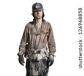 Mine Worker With Flashlight...
