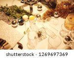 blur many empty glasses on the... | Shutterstock . vector #1269697369