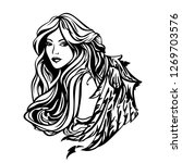 beautiful angel woman with long ... | Shutterstock .eps vector #1269703576