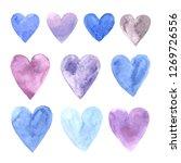 set of hand painted watercolor...   Shutterstock . vector #1269726556