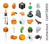 halloween icon set. isometric... | Shutterstock . vector #1269728503