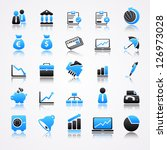 blue business icons with...