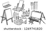 hand drawn art tools and... | Shutterstock .eps vector #1269741820