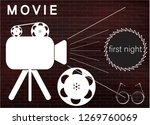 icons of the camera and film on ... | Shutterstock .eps vector #1269760069