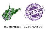 vector collage of grape wine... | Shutterstock .eps vector #1269764539