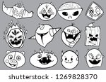 alien and monster cartoon faces ... | Shutterstock .eps vector #1269828370
