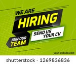 Stock vector hiring recruitment design for banner poster we are hiring lettering with geometric shapes lines 1269836836