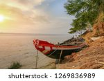 wooden fishing boat on the bank ...   Shutterstock . vector #1269836989