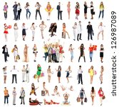 group of many different people... | Shutterstock . vector #126987089