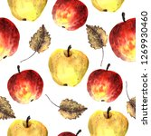 watercolor apple pattern. color ... | Shutterstock . vector #1269930460