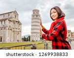 young woman traveler making... | Shutterstock . vector #1269938833