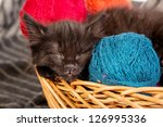 Stock photo black kitten playing with a red ball of yarn isolated on a white background 126995336