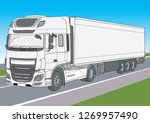 vector white lorry in motion ...   Shutterstock .eps vector #1269957490