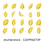 yellow leaf icons set | Shutterstock .eps vector #1269966739
