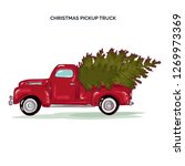 pickup truck with christmas tree | Shutterstock .eps vector #1269973369