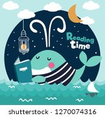 cute funny whale with stripped... | Shutterstock .eps vector #1270074316