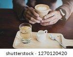 dark vintage color male holding ... | Shutterstock . vector #1270120420