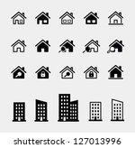 houses vector icons set. raster ... | Shutterstock . vector #127013996