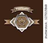 vector vintage star label retro ... | Shutterstock .eps vector #127015868