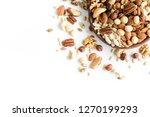 set of various nuts in wooden... | Shutterstock . vector #1270199293