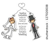 cartoon wedding picture | Shutterstock .eps vector #127020038