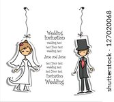cartoon wedding picture | Shutterstock .eps vector #127020068