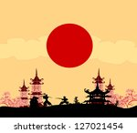 old paper with samurai... | Shutterstock .eps vector #127021454