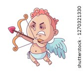 funny little cupid aiming at... | Shutterstock .eps vector #1270321330