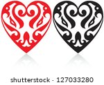 valentine's day beautiful heart ... | Shutterstock .eps vector #127033280