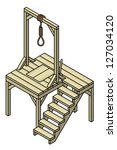 A wooden gallows with a single noose.