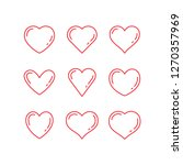 heart icons  thin linear vector ... | Shutterstock .eps vector #1270357969
