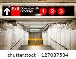 Stock photo new york city subway passageway and sign to brooklyn 127037534