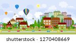 seamless cityscape with hot air ... | Shutterstock .eps vector #1270408669
