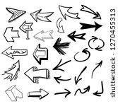 arrows set hand drawn. vecotr... | Shutterstock .eps vector #1270455313