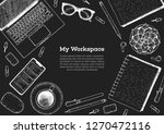 my workspace. office desk table ... | Shutterstock .eps vector #1270472116
