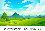 meadows with mountains.... | Shutterstock .eps vector #1270496179