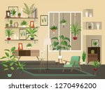 indoor flowers into room. urban ... | Shutterstock .eps vector #1270496200