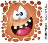 funny  cute crazy pumpkin... | Shutterstock .eps vector #1270496563