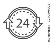 24 hours delivery icon. outline ...