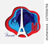 france 3d paper cut background. ... | Shutterstock .eps vector #1270506706