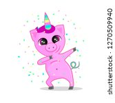 funny party pig unicorn dabbing ... | Shutterstock .eps vector #1270509940