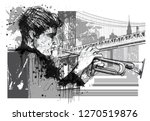trumpet player in new york ... | Shutterstock .eps vector #1270519876